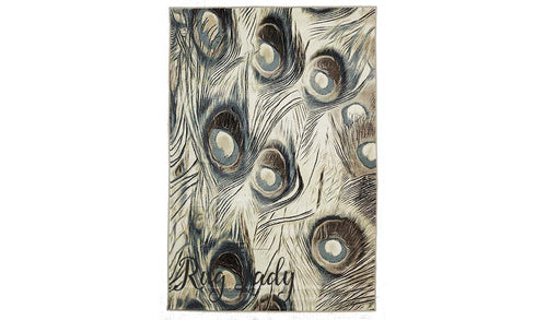 Odyssey Off White Brown Blue Feathers Bone Pattern Rug