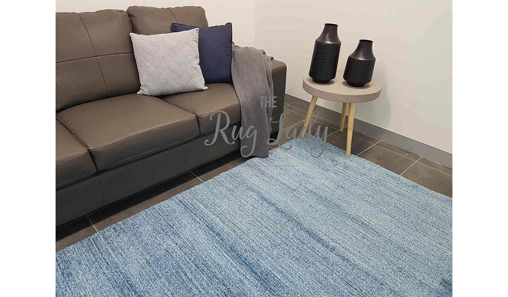 Contemporary Blue Stripe Rug