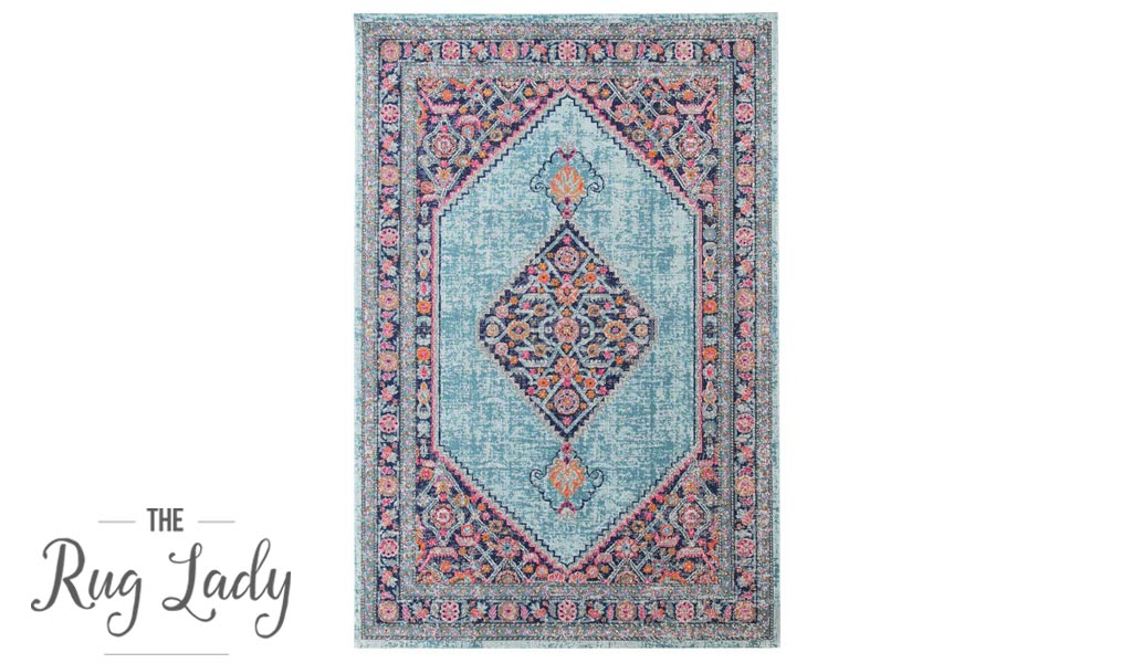 Everlast Blue Stonewashed Traditional Rug