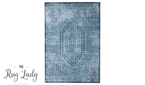 Everlast Blue and Navy Stonewashed Traditional Rug