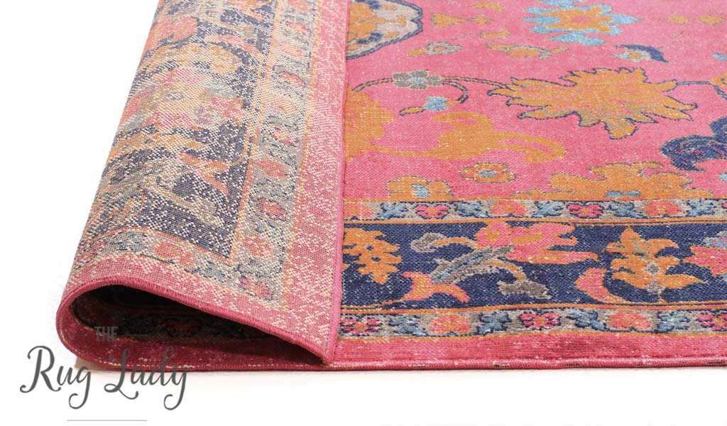 Everlast Pink Multicoloured Stonewashed Traditional Hallway Runner