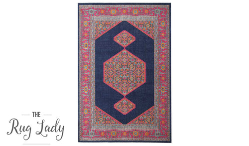 Everlast Navy Multicoloured Stonewashed Traditional Rug