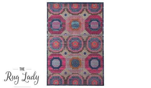 Everlast Multicoloured Stonewashed Traditional Rug