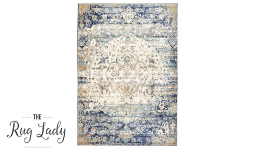 Amelia Blue Medallion Abrash Transitional Rug
