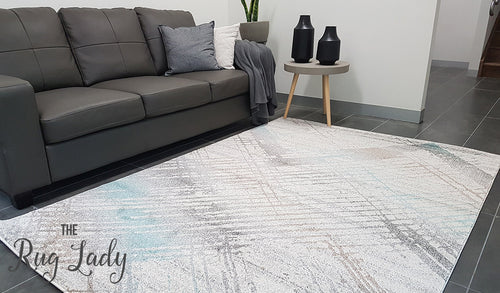 Aspire Blue Grey Abstract Canvas Rug