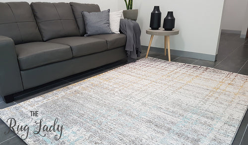 Aspire Grey Orange Abstract Pattern Rug