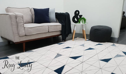 Aiden Navy Blue and Grey Geometric Diamond Pattern Rug