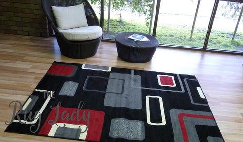 Modern Rugs: Abstract Black Grey Rugs