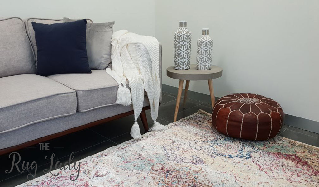 Amelia Ivory Geometric Abrash Transitional Rug