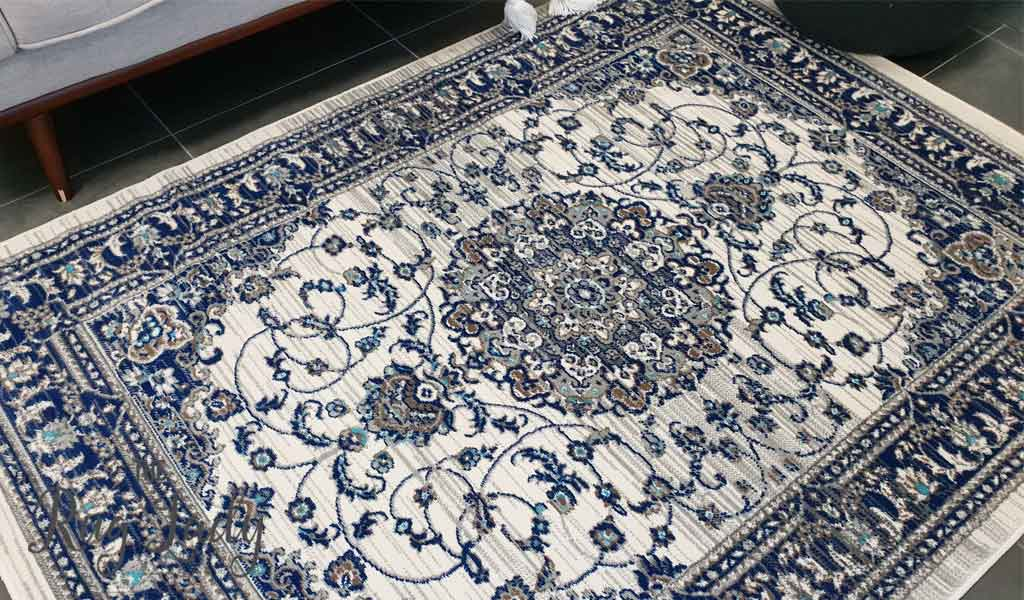 Austine Off White Blue Floral Transitional Oriental Pattern Rug