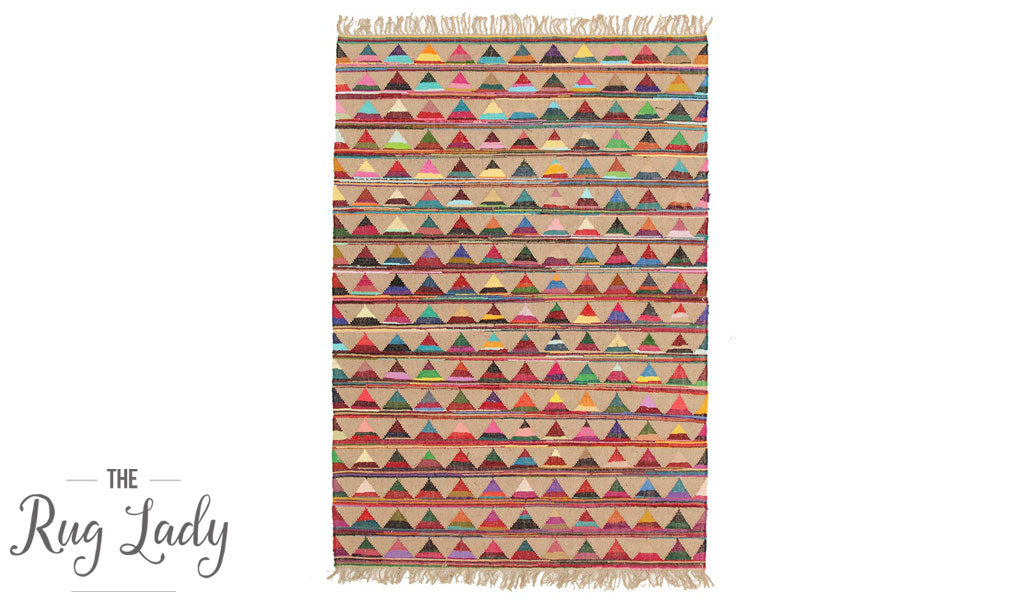 Multicoloured Triangles Jute Rug