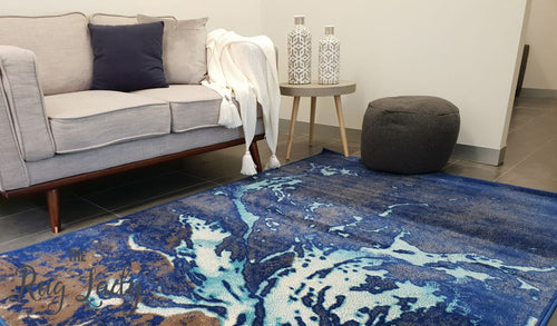 Austine Blue White Splatter Pattern Rug