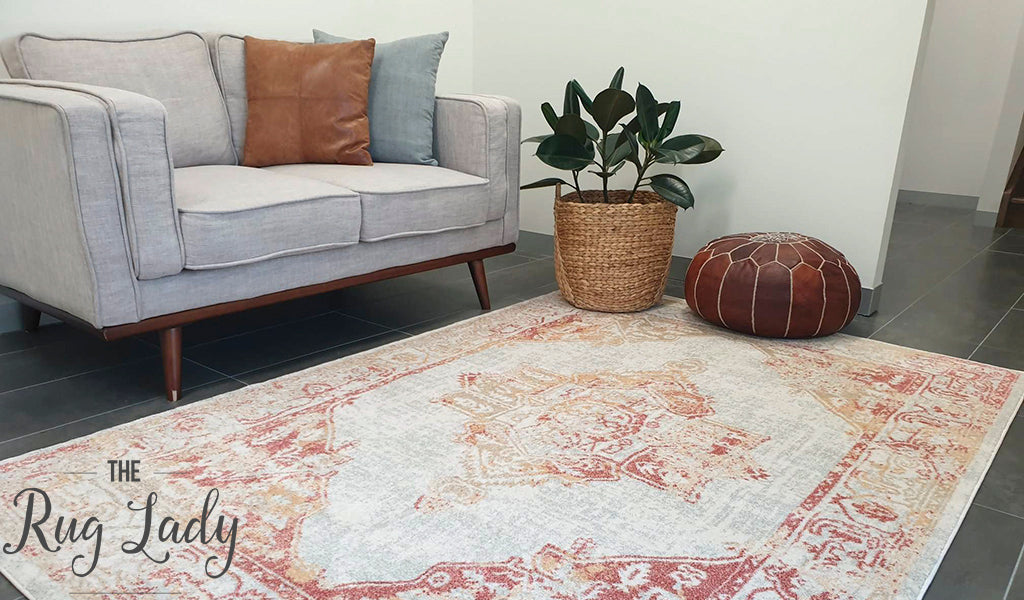 Avalee Orange Medallion Vintage Washed Rugs