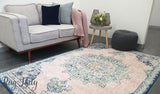 Avalee Blue Pink Medallion Vintage Washed Rugs