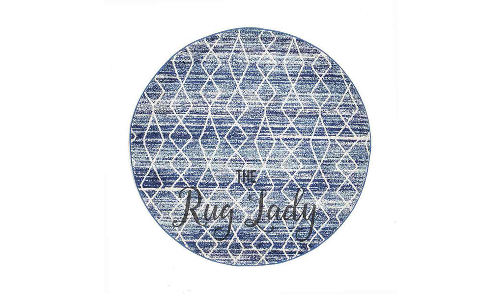 Awaken Blue Diamond Round Rug