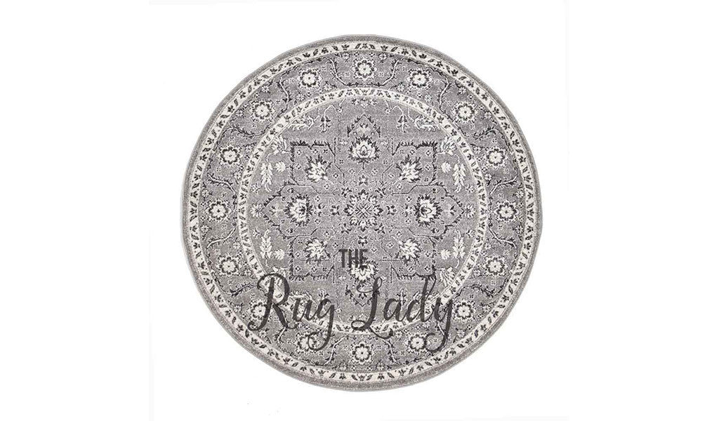 Awaken Grey Black Flower Medallion Transitional Round Rug