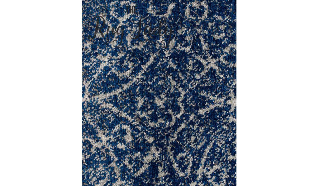 Awaken Navy Blue Cream Power Loomed Rug The Rug Lady