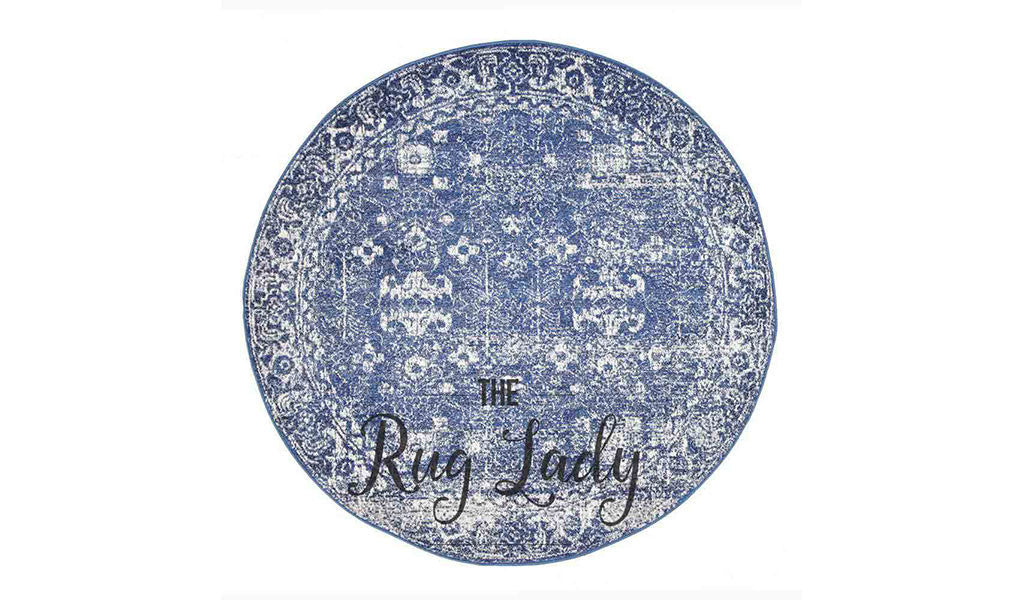 Awaken Navy Blue Over Dyed Oriental Round Rug