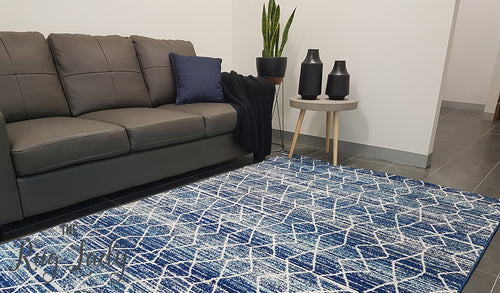 Awaken Blue Diamond Power Loomed Rug