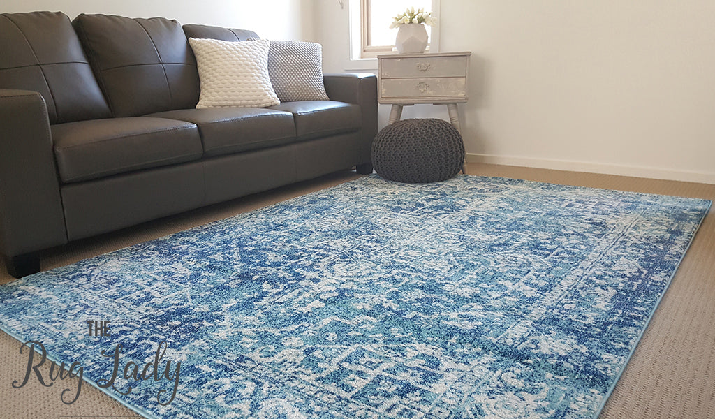Awaken Blue White Medallion Rug