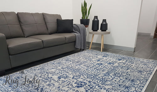 Awaken Blue White Power Loomed Rug