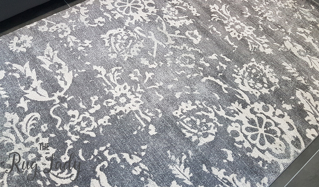 Awaken Grey Oriental Power Loomed Rug