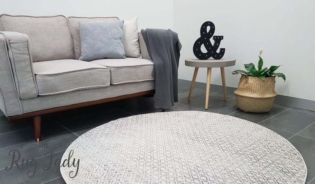Awaken Grey Diamond Patterned Round Rug