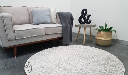 Awaken Grey Patterned Power Loomed Round Rug