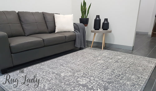 Awaken Grey White Power Loomed Rug