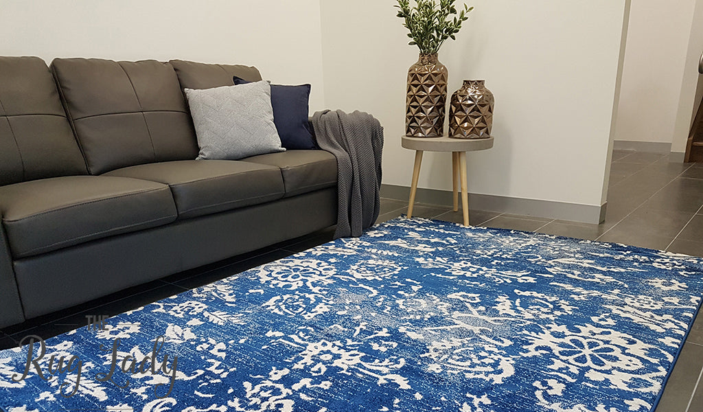 Awaken Navy Vintage Floral Power Loomed Rug