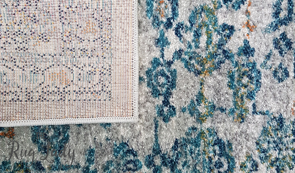 Awaken Silver Blue Power Loomed Rug