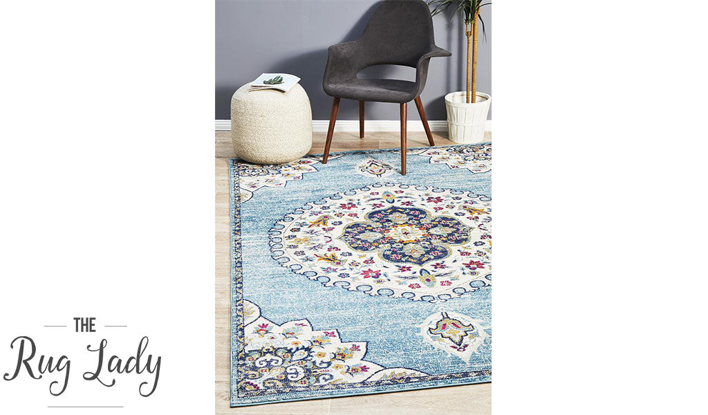 Blake Blue White Floral Medallion Transitional Rug