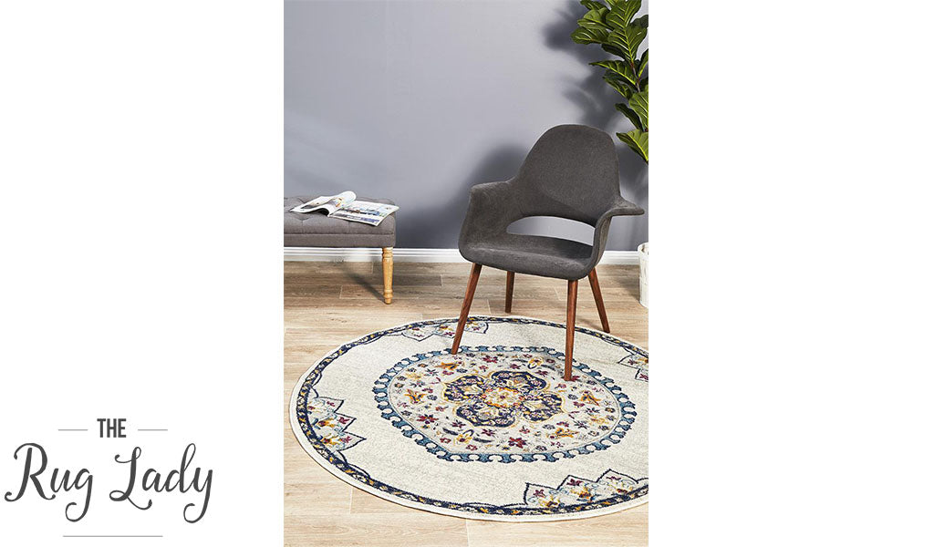 Blake Off White Medallion Transitional Round Rug
