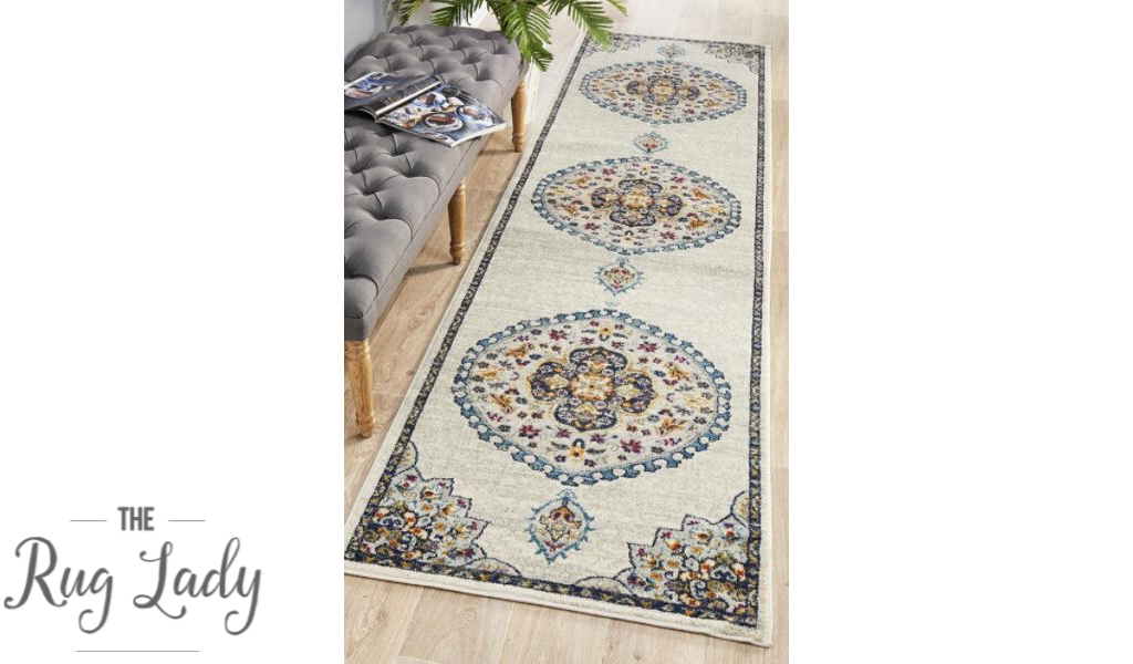 Blake Off White Medallion Transitional Hallway Runner
