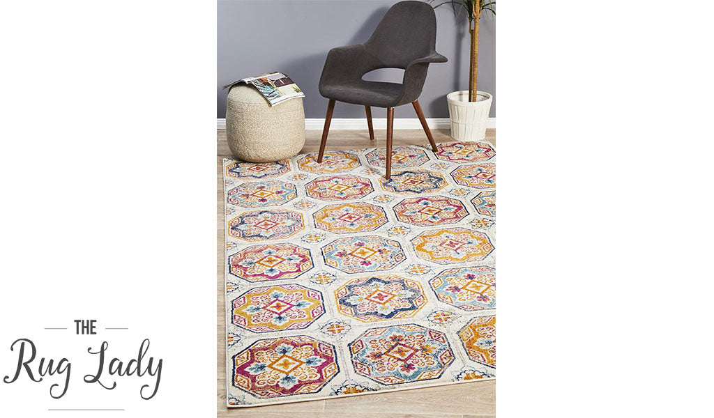 Blake Multi-Coloured Hexagon Transitional Rug