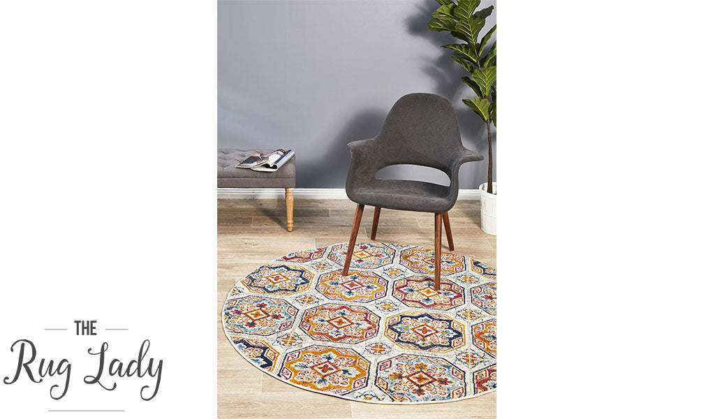 Blake Multi-Coloured Hexagon Transitional Round Rug