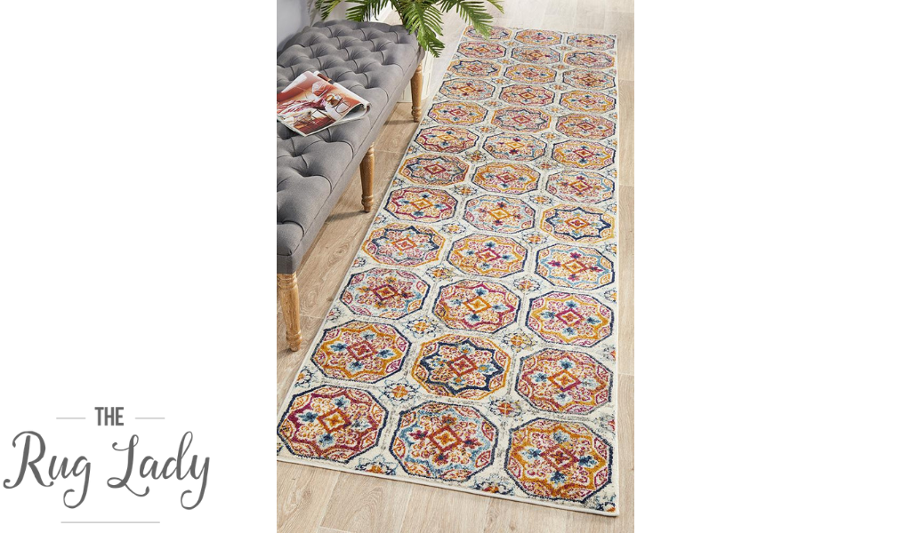 Blake Multi-Coloured Hexagon Transitional Hallway Runner