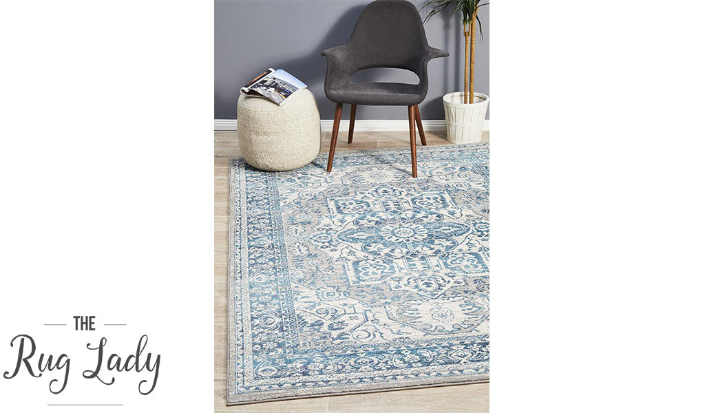 Blake Blue Grey Medallion Transitional Rug