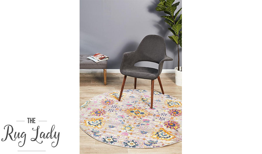 Blake Orange Multi-Coloured Oriental Transitional Round Rug