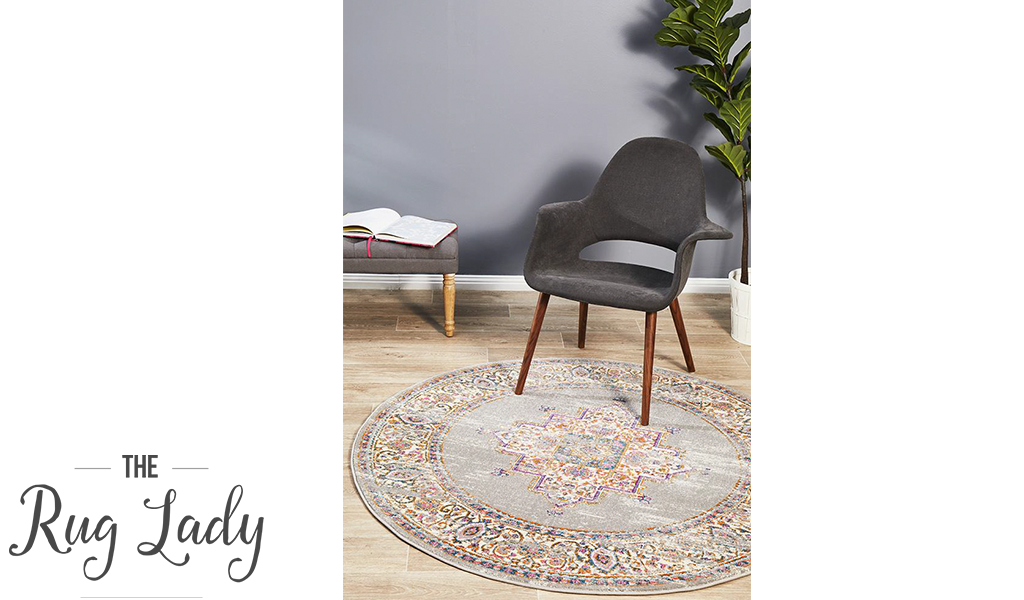 Blake Grey Medallion Transitional Round Rug