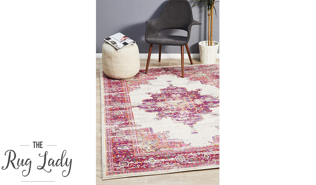 Blake Purple Pink Medallion Transitional Rug