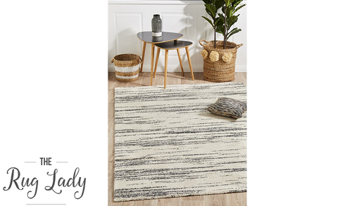 Brydie Ivory Charcoal Abstract Lines Pattern Rug