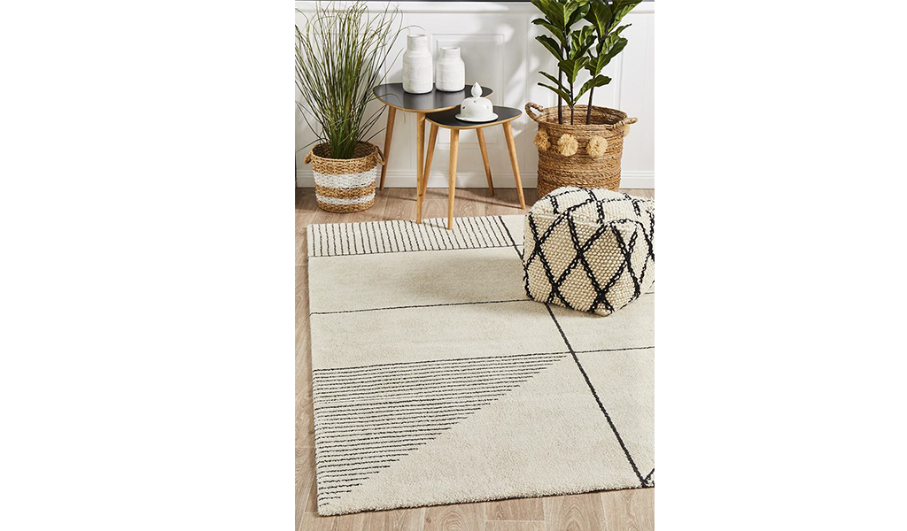 Brydie Ivory Abstract Power Loomed Rug