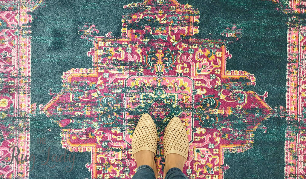 Blake Blue Pink Medallion Transitional Rug