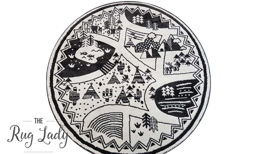 Bambino Black White Tribal Camp Pattern Round Rug