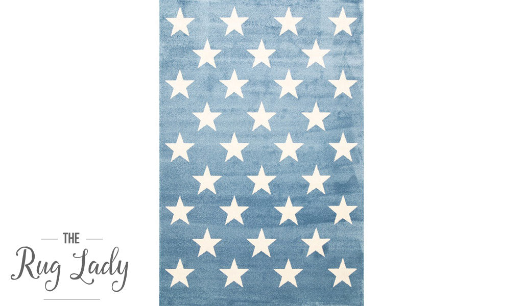 Bambino Blue White Star Pattern Rug