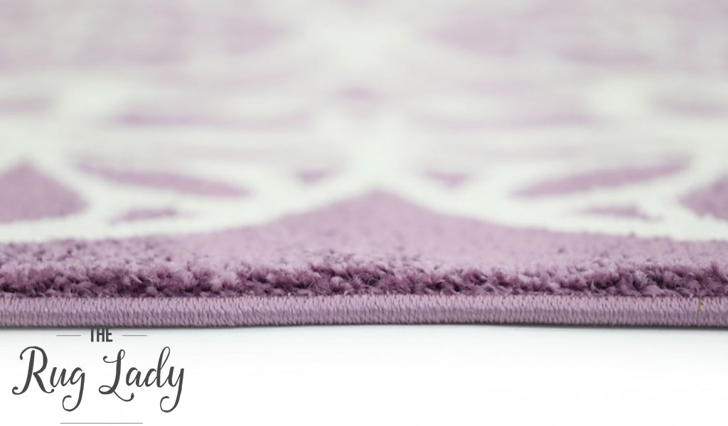 Bambino Purple White Doily Pattern Rug