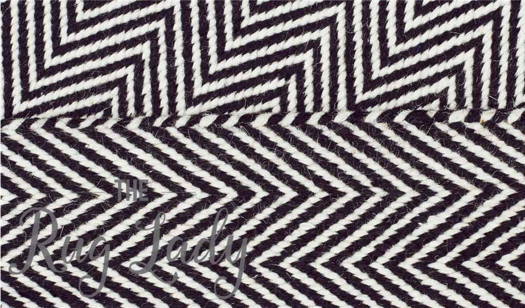 Black Chevron Zig Zag Scandinavian Wool Rug