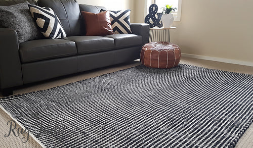 Black Scandinavian Wool Rug