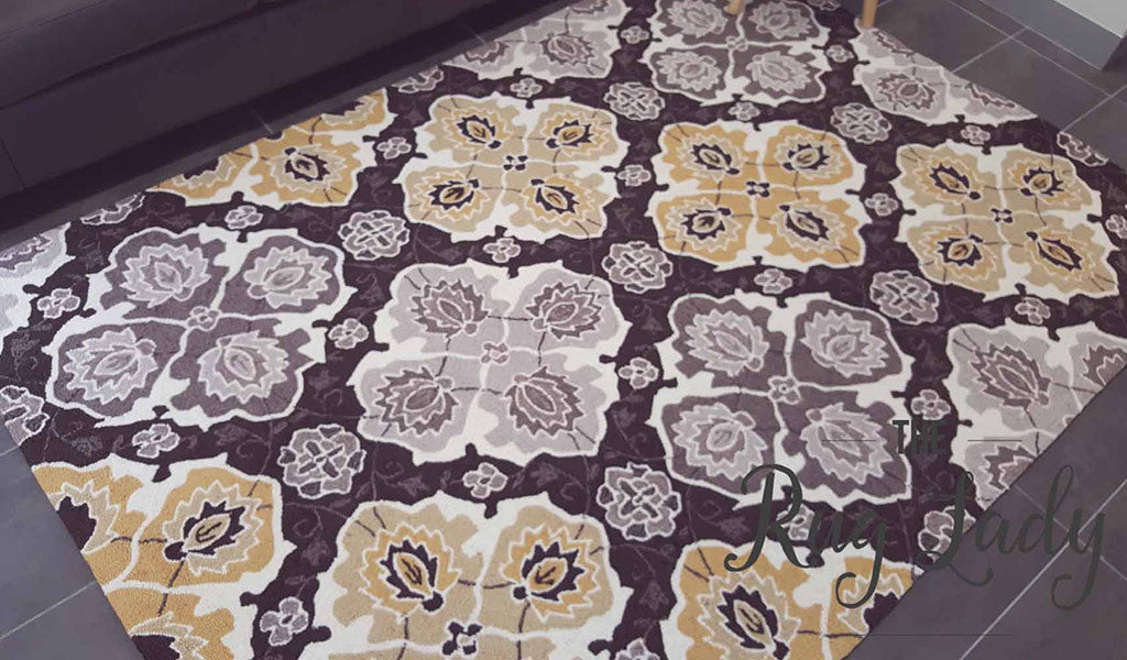 Blossom Yellow Grey Flower Pattern